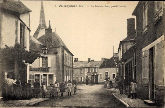 Ak Villequiers Cher, La Grande Rue, partie haute