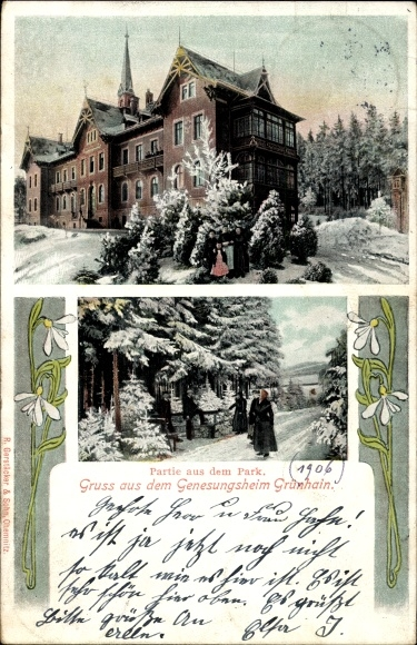 Ak Grünhain Beierfeld im Erzgebirge Sachsen, Genesungsheim, Parkpartie im Winter