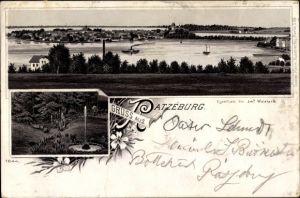Litho Ratzeburg in Schleswig Holstein, Totalansicht vom Ort, Fontäne