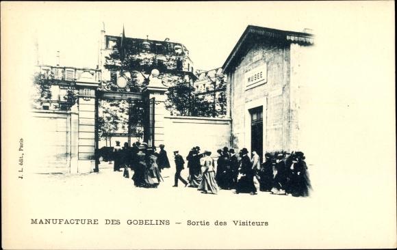 Ak Paris Frankreich, Manufacture des Gobelins, Sortie des Visiteurs, Musee