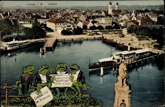 Ak Lindau in Bodensee Schwaben, Blick auf den Hafen und den Bayerischen Löwen, Frösche mit Vers