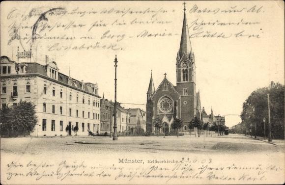 Ak Münster in Westfalen, Blick auf die Erlöserkirche