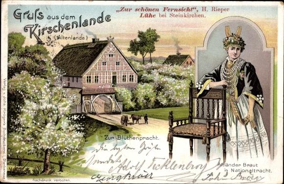 Litho Lühe Jork im Kreis Stade, Zur schönen Fernsicht von H. Rieper, Altländer Braut in Tracht