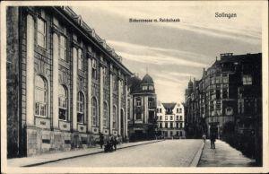 Ak Solingen in Nordrhein Westfalen, Birker Straße mit Reichsbank