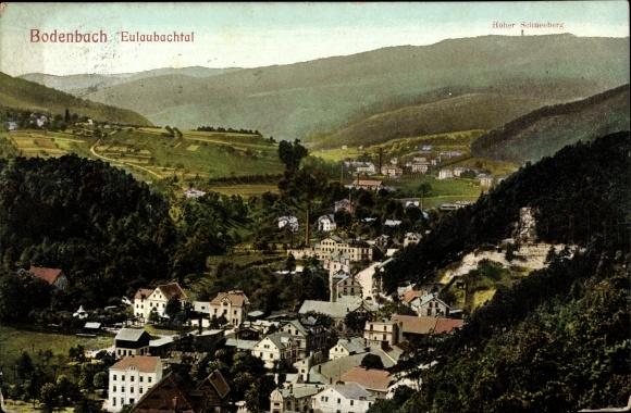 Ak Děčín Tetschen Bodenbach Elbe Reg. Aussig, Blick ins Eulaubachtal, Hoher Schneeberg