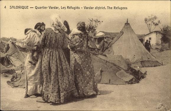 Ak Thessaloniki Griechenland, Quartier Vardar, Les Réfugies, Flüchtlingslager, Zelte