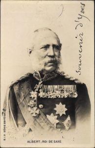 Ak König Albert von Sachsen, Portrait in Uniform, Orden