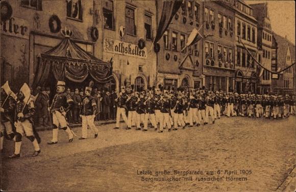 Ak Freiberg im Kreis Mittelsachsen, Letzte große Bergparade am 06. April 1905, Bergmusikchor