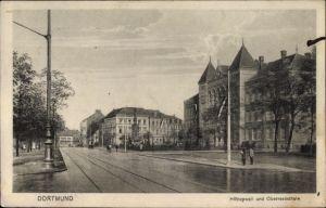 Ak Dortmund im Ruhrgebiet, Blick auf den Hitropwall, Oberrealschule, Straßenpartie im Ort