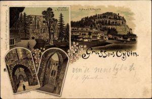 Litho Oybin in Sachsen, Friedhof und Kirchruine, Kreuzgang, Totalansicht von Ort