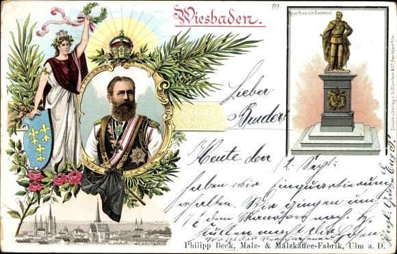 Wappen Litho Wiesbaden in Hessen, Kaiser Friedrich Denkmal, Kaiser Friedrich III., Portrait