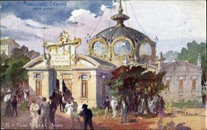 Künstler Ak Milano Mailand Lombardia, Esposizione 1906, Padiglione Stampa, Arch. Locati