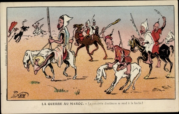 Künstler Ak La Guerre au Maroc, La cavalerie dissidente se rend à la harka, Karikatur