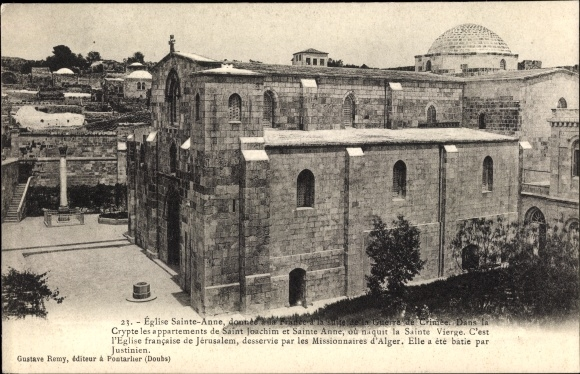 Ak Jerusalem Israel, Église Sainte Anne, Crypte les appartements de Saint Joachim et Sainte Anne