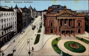 Ak Brno Brünn Südmähren, Basteigasse, Stadttheater, Geschäfte, Straßenbahn