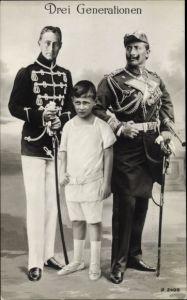 Ak Drei Generationen, Kaiser Wilhelm II., Kronprinz Wilhelm von Preußen, Erbprinz Wilhelm