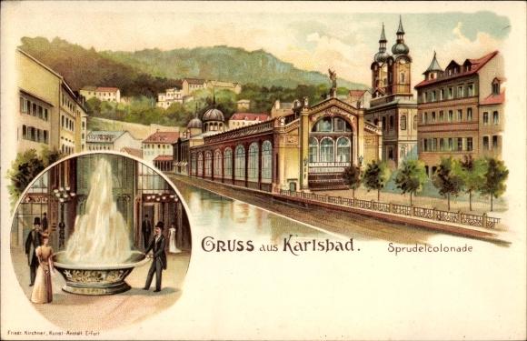 Litho Karlovy Vary Karlsbad Stadt, Sprudelkolonnade, Kurgäste am Sprudel