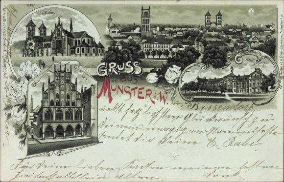 Mondschein Litho Münster in Westfalen, Dom, Kgl. Schloss, Rathaus, Gesamtansicht