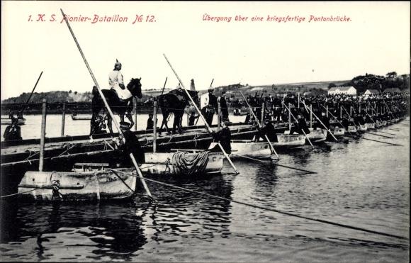 Ak 1. KS Pionier Bataillon No 12, Übergang über eine kriegsfertige Pontonbrücke