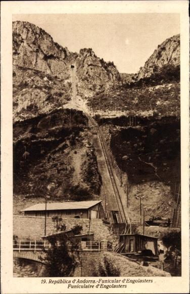 Ak Andorra, Funicular d'Engolasters, Standseilbahn, Landschaftsblick