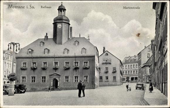 Ak Meerane in Sachsen, Partie auf der Marienstraße, Blick auf das Rathaus