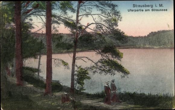 Ak Strausberg im Kreis Märkisch Oderland, Uferpartie am Straussee