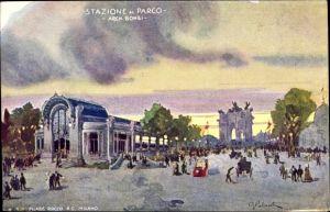 Künstler Ak Milano Mailand Lombardia, Esposizione 1906, Stazione al Parco