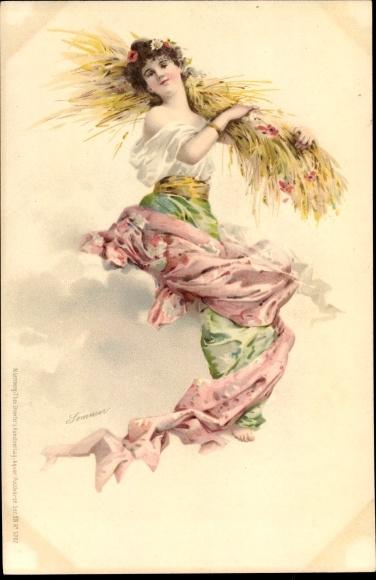 Litho Sommer, Frauenportrait, Weizenernte, Stroefer Serie XIII Nr 5707