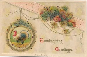Präge Perl Ak Thanksgiving Greetings, Truthahn