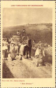Ak Les Vendanges en Bourgogne, Aux Avaux, Weinlese, Weinanbau