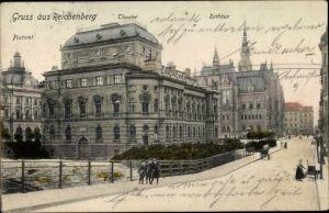 Ak Liberec Reichenberg Stadt, Postamt, Theater, Rathaus, Straßenansicht