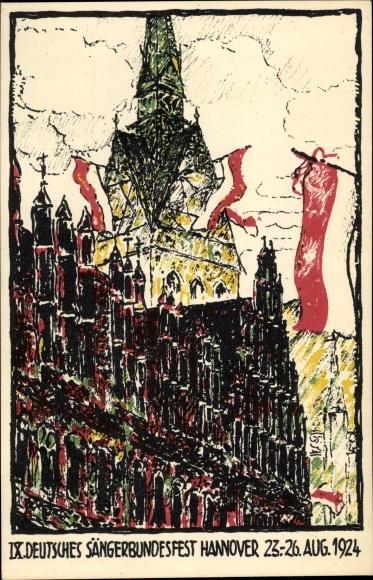 Künstler Ak Hannover in Niedersachsen, IX. Deutsches Sängerbundesfest 1924