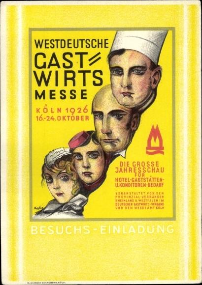 Künstler Ak Köln am Rhein, Westdeutsche Gastwirts Messe 1926, Koch, Butler, Hotelpage, Dienstmädchen