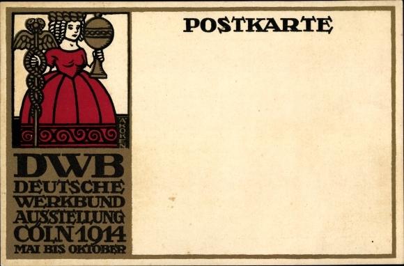 Steindruck Ak Köln am Rhein, Köln am Rhein, DWB Deutsche Werkbund Ausstellung 1914, Hermesstab