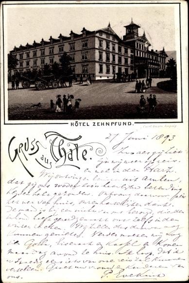 Vorläufer Litho Thale im Harz, Blick auf Hotel Zehnpfund