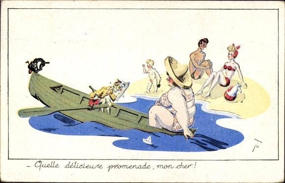 Künstler Ak Quelle delicieuse promenade, dicke Frau und dünner Mann im Ruderboot