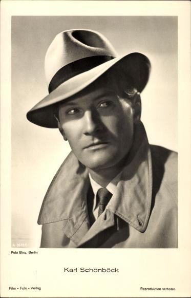 Ak Schauspieler Karl Schönböck, Portrait mit Hut, Nr. A 3572/1