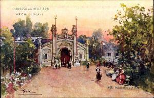 Künstler Ak Milano Mailand Lombardia, Esposizione 1906, Ingresso alle Belle Arti, Arch. Locati