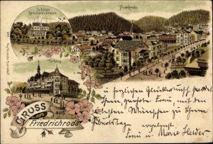 Litho Friedrichroda im Thüringer Wald, Schloss Reinhardsbrunn, Kurhaus, Panorama vom Ort, Blüten