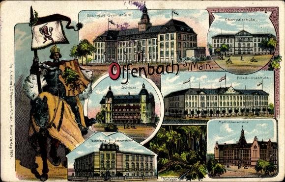 Litho Offenbach am Main Hessen, Gymnasium, Schloss, Technische Lehranstalt, Friedrich Schule, Ritter