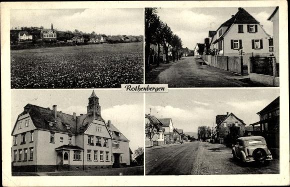 Ak Rothenbergen Gründau im Main Kinzig Kreis, Straßenansichten, Wohnhäuser, Auto