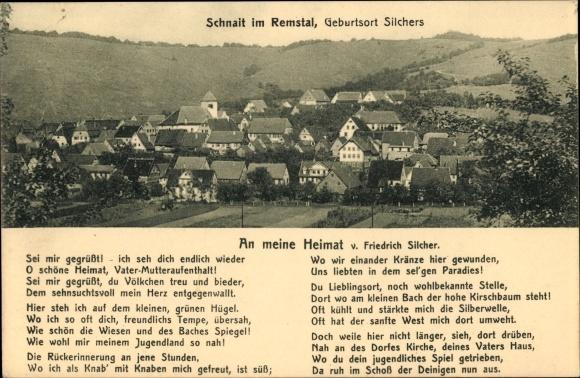 Gedicht Ak Schnait Weinstadt im Rems Murr Kreis, An meine Heimat von Friedrich Silcher