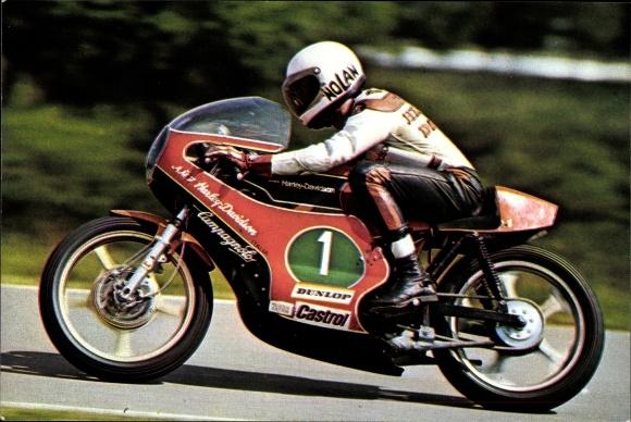 Ak Rennfahrer Walter Villa, Harley Davidson Italia, Motorradrennen