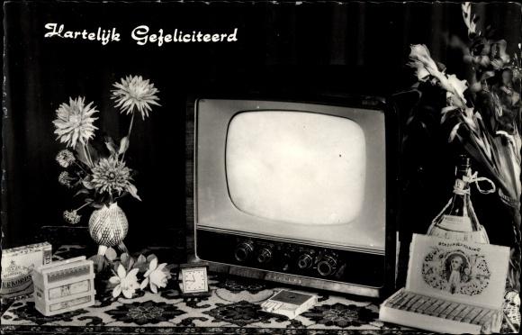 Ak Glückwunsch, Hartelijk Gefeliciteerd, Fernseher, Zigarren