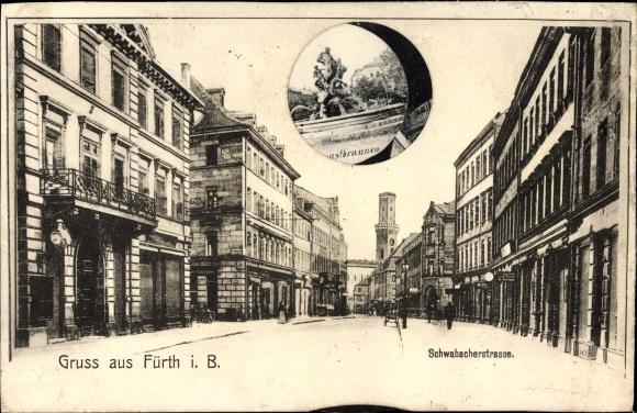 Mechanische Ak Fürth in Mittelfranken Bayern, Schwabacher Straße, Kunstbrunnen, Bahnhof, Theater
