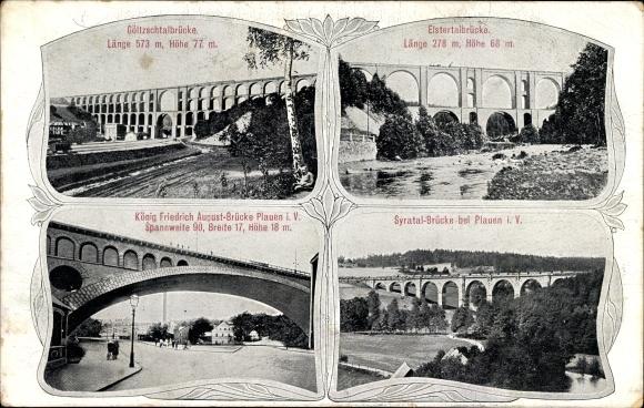 Ak Pöhl Vogtland, Blick auf die König Friedrich August Brücke, Göltzschtalbrücke, Elstertalbrücke