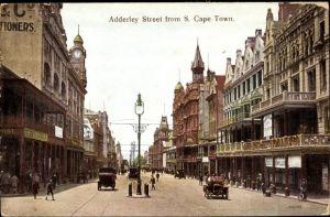 Ak Cape Town Kapstadt Südafrika, Adderley Street, Straßenpartie in der Stadt