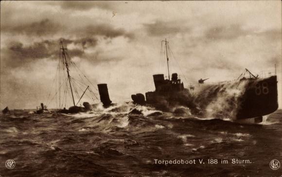 Ak Deutsches Kriegsschiff, Torpedoboot V 188 im Sturm, Kaiserliche Marine