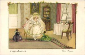 Künstler Ak Ebner, Pauli, La mariée est prête, Mädchen, Hochzeitskleid, Puppen