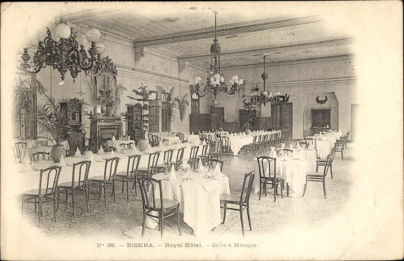 Ak Biskra Algerien, Royal Hôtel, Salle à Manger, Innenansicht Nr ...